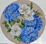 Hydrangea and White Rose Plate